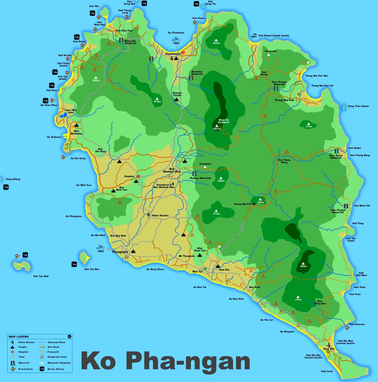 carte koh phangan en relief