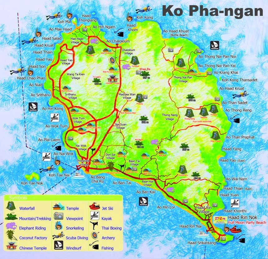 carte tourisme koh phangan attractions