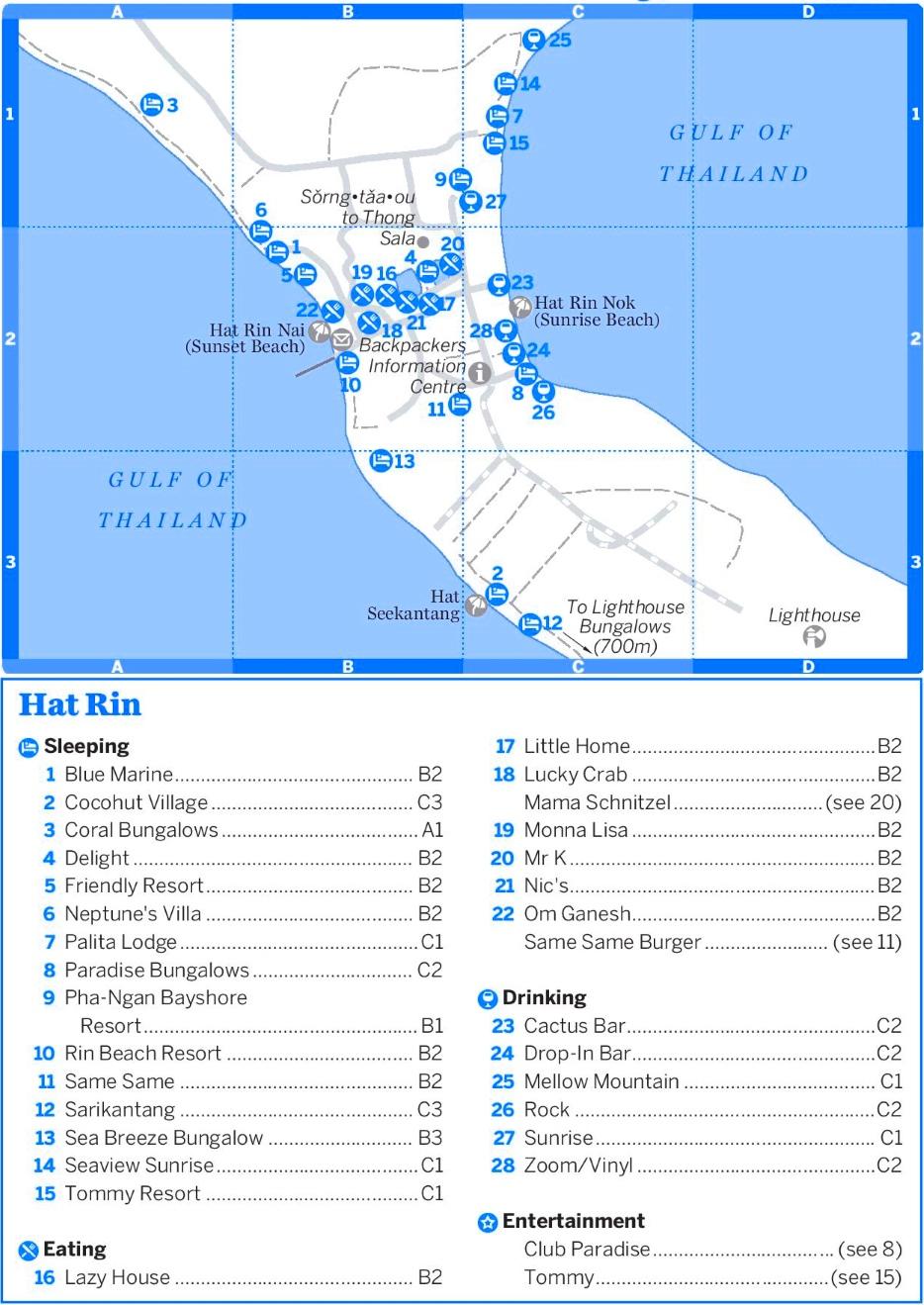 carte touristique hat rin île koh phangan